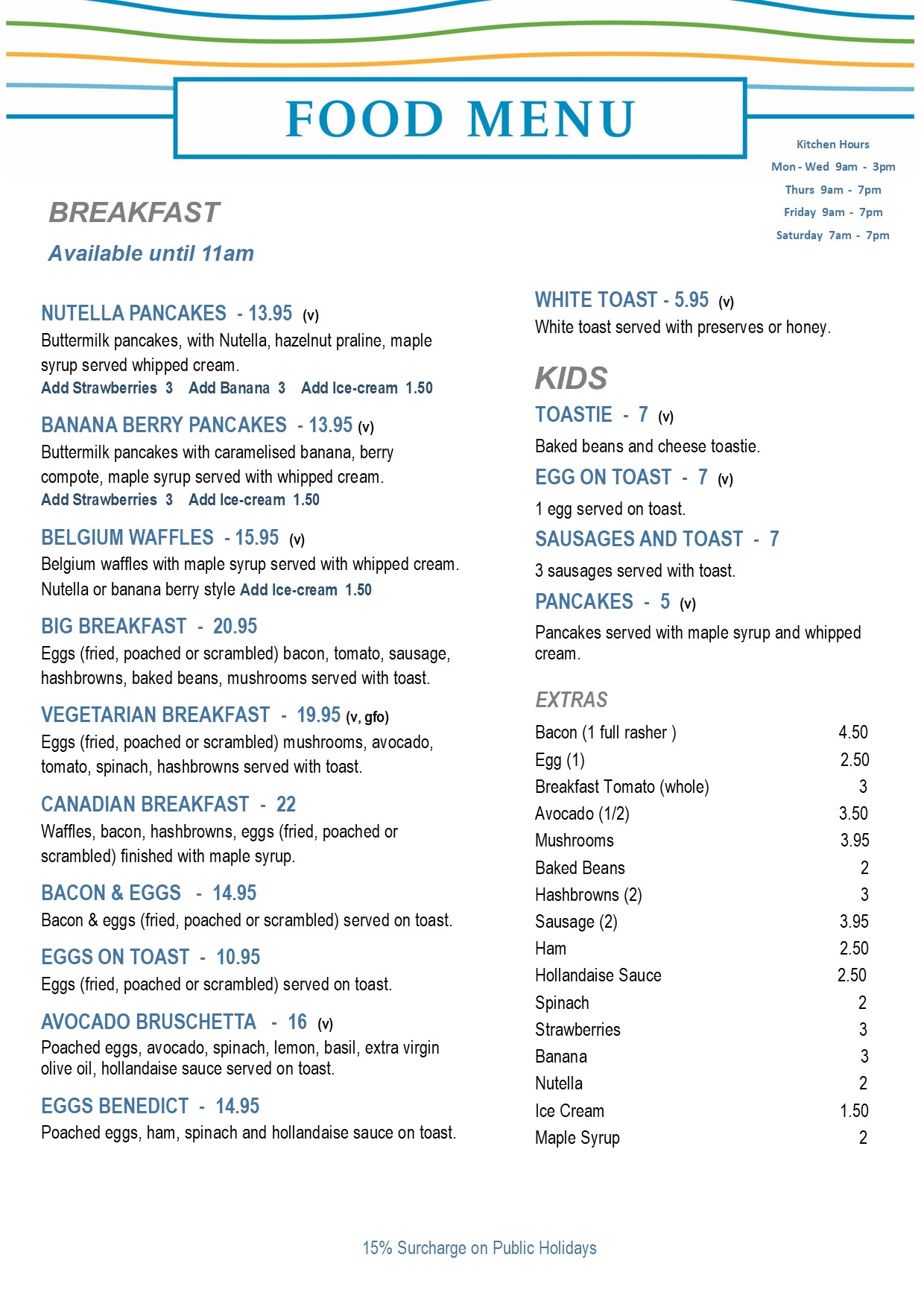 Breakfast Menu Secret Harbour